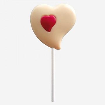Sucette Cœur en chocolat blanc