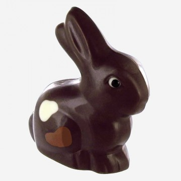 Lapin assis en chocolat noir