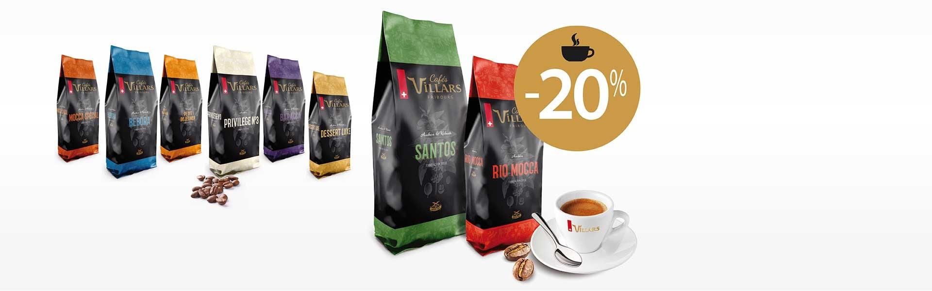 L'automne démarre bien avec notre offre café Villars!Jusqu'au 17 octobre, dès 3 kg achetés vous bénéficiez de -20%. Des mélanges équilibrés convenant à toutes les préparations de café et tous les types de gastronomie.