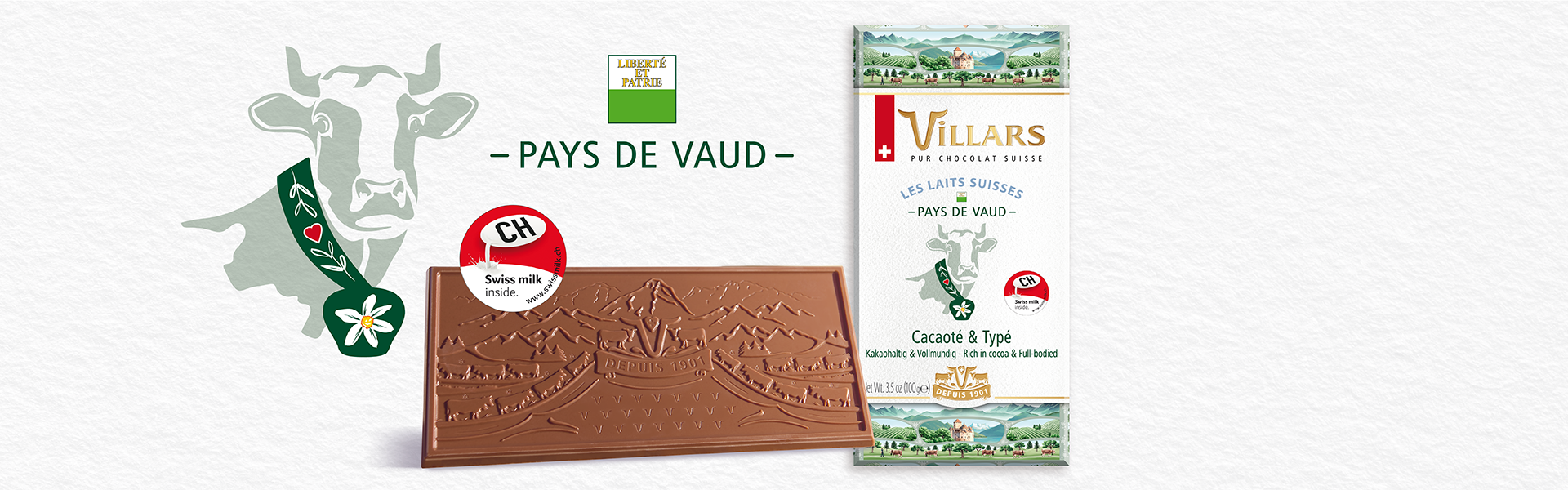 Tablette de chocolat au lait du pays de Vaud